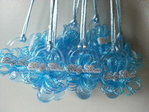 Image Is Loading 12 Blue Pacifier Necklaces Baby Shower Games Favors