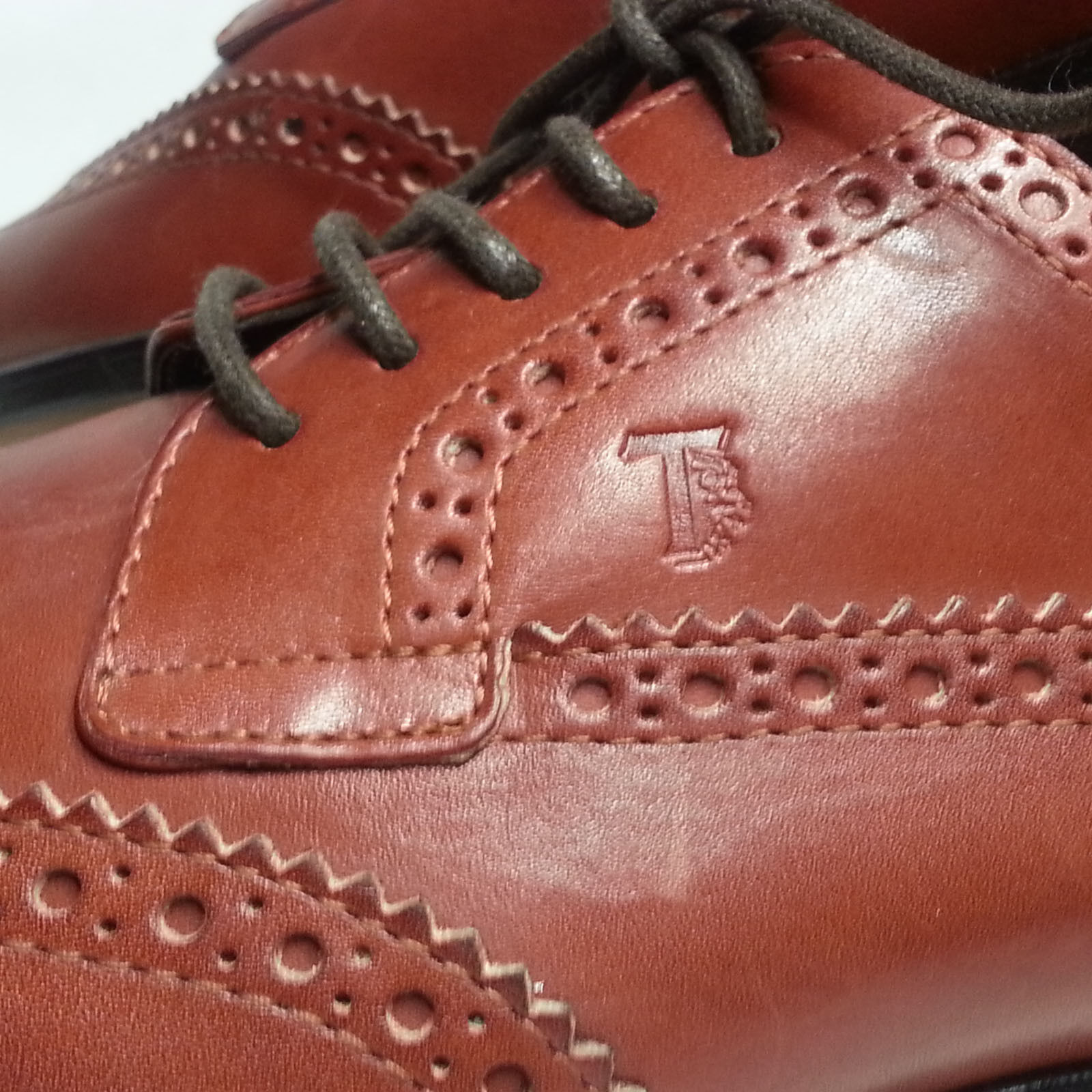 TOD'S Uomo Size 8.5 Dress Dress Dress Brown Pelle Shoes Wingtip Made in Italy b77bb8