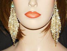 GOLD W. CLEAR RHINESTONE BRIDAL BARTYCHANDELIER EARRINGS
