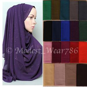 Premium-Quality-Glitter-Chiffon-Maxi-Hijab-Scarf-Muslim-Headcover-17-Colors