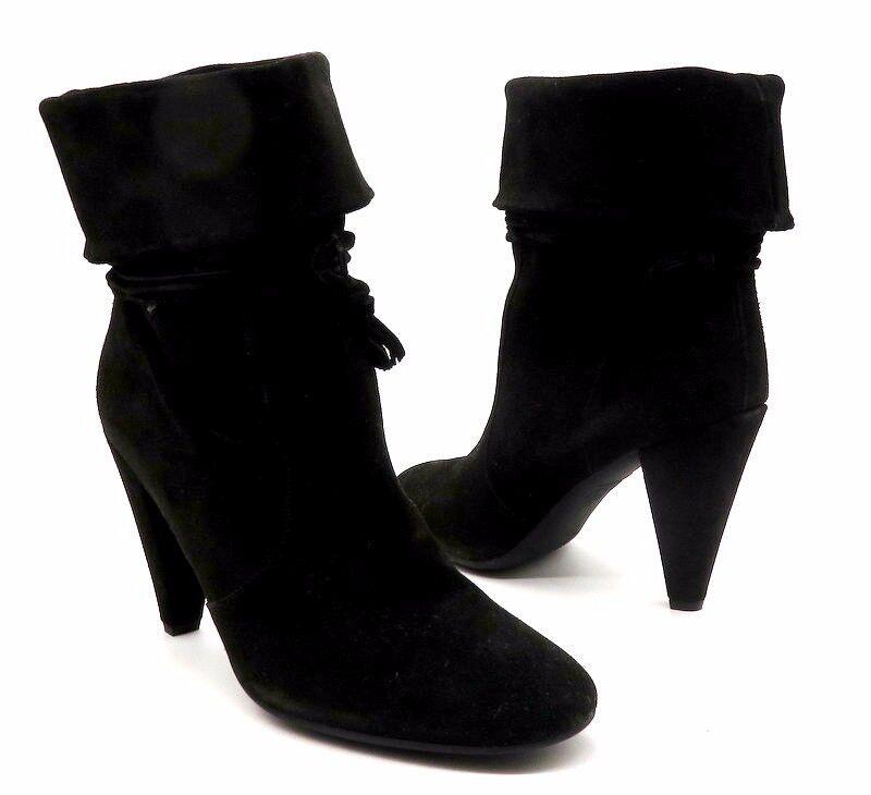 FORNARINA Size 40 Black Suede Foldover Tassle Tie Around High Heel Ankle Boots