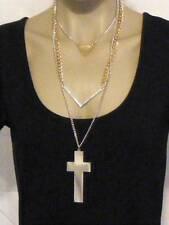 $18 Nordstrom Triple Row Chunky Cross Triangle Chevron 2-Tone Chain Necklace