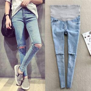 Spring-Autumn-Pregnant-Women-Jeans-Holes-Denim-Maternity-Pants-Nursing-Prop