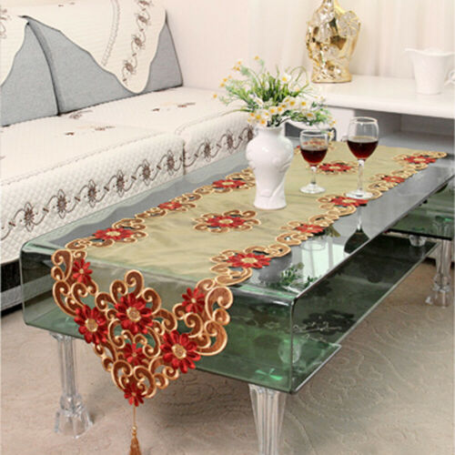 Vintage Embroidered Table Runner Kitchen Dining Wedding Party Decor Table Cover