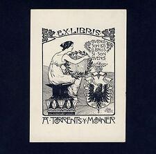Exlibris Bookplate * MONOGRAMMIST *Frau Buch Adler Wappen Crest Eagle Book Woman