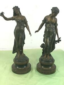 Vintage-Beautiful-season-women-bronze-statue-french-printemps-ete-spring-summer