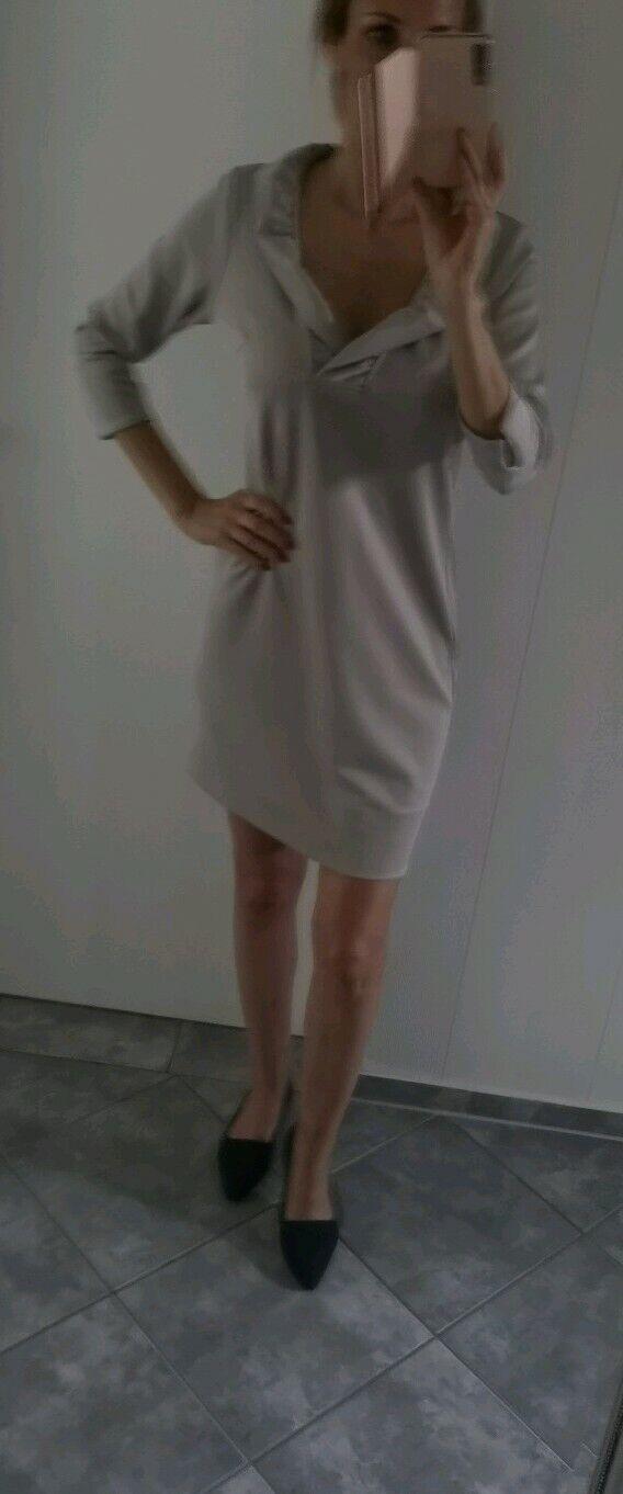 Gretchen Scott Jersey-Ruffneck-Kleid - Solide Gr. S neu oben Zustand