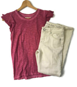 Justice-Abercrombie-Girls-Size-12-14-Outfit-Sand-Skinny-Jeans-and-Flutter-Top