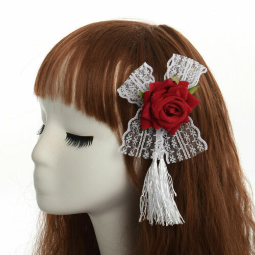 Girl Hair Clip Hairpin Rose Lace Tassel Fabric Brooch Gothic Lady Hair Accessory