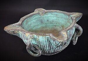 Ancienne-Vintage-poterie-d-Espagne-en-forme-de-lampe-a-huile-d-aspect-bronze