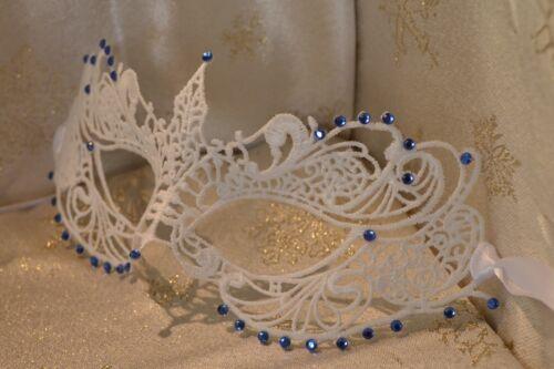 White Masquerade Mask Blue Sapphire Diamante Proms Weddings Masked Balls Gifts