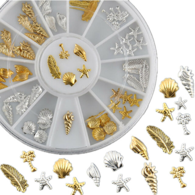 Gold Silver 3D Metal Ocean Life Shell Conch Feather Starfish Nail Art Decoration