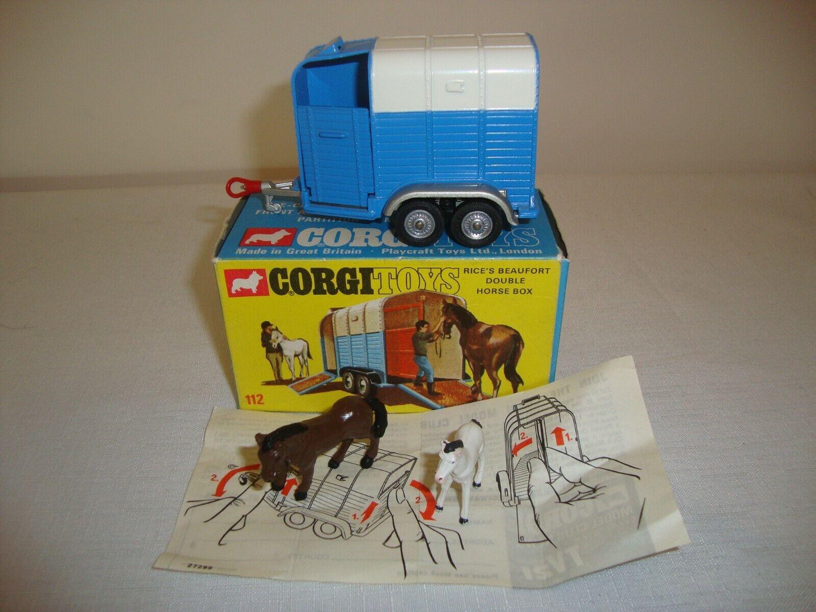 CORGI  112 Rice Beaufort Double Horse Box-Excellent dans boîte d'origine  wholesape pas cher