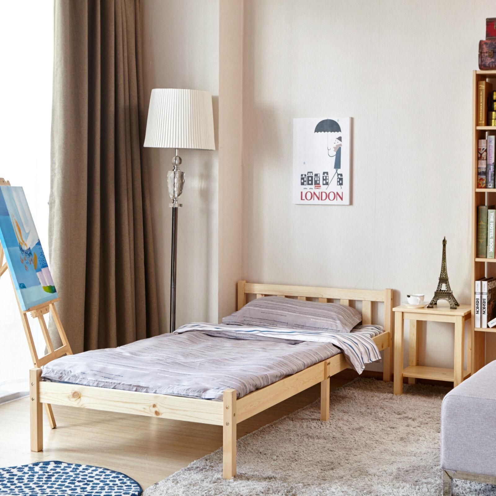 Bed Frame 3FT Solid Pine Natural Wooden Beds Single Wood for Adult ...