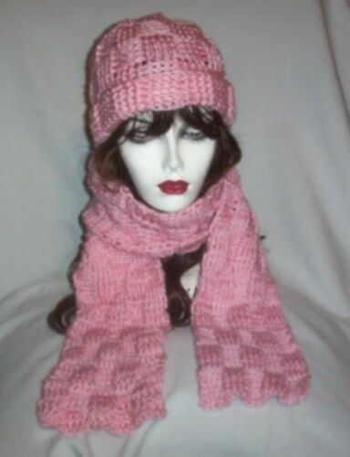 Hand Crochet Pink Basket Weave Hat and Scarf Set Ready to ship