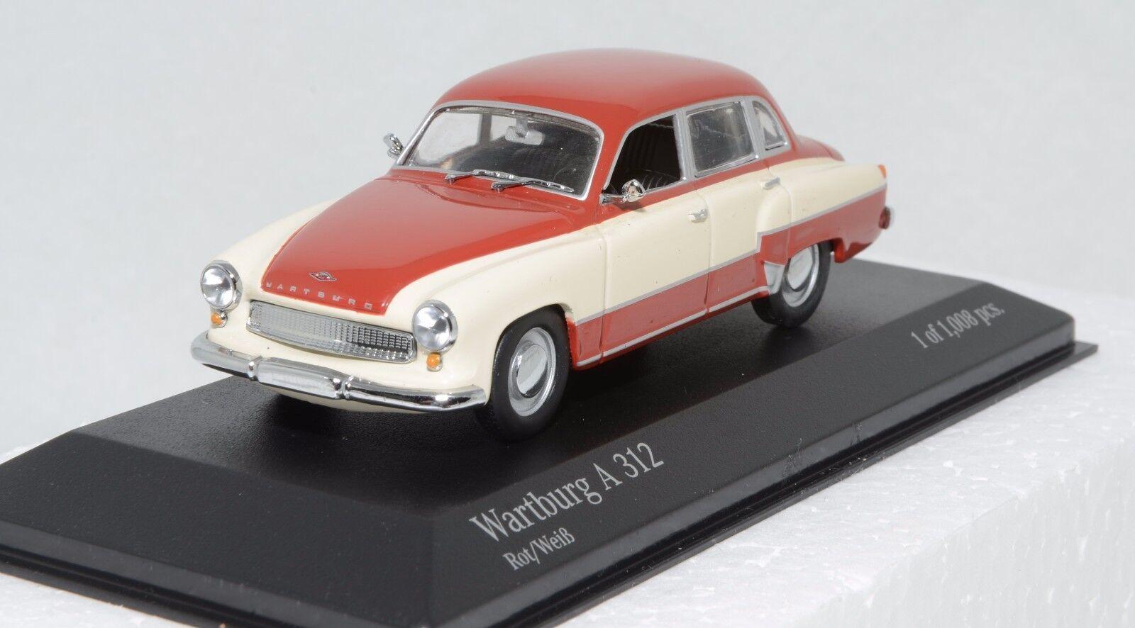 Minichamps 430015906 Wartburg  A 312 saloon rosso bianca 1958 MIB