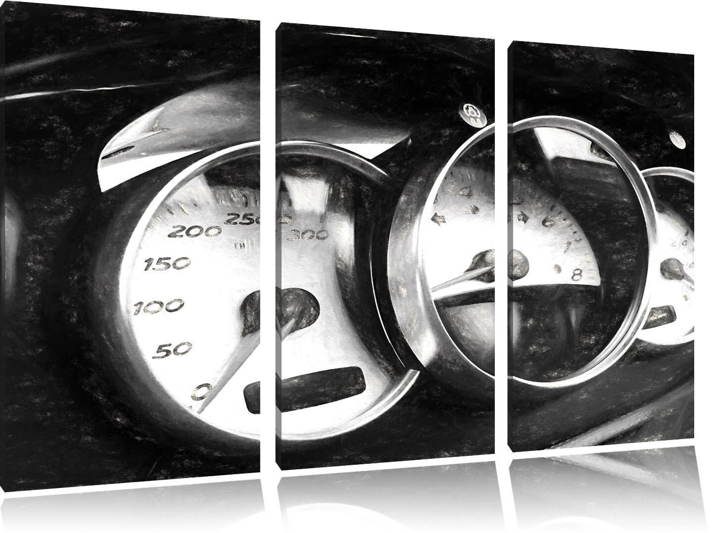 Armatures de Porsche Charbon Effet 3-Teiler Image de Toile Décoration Murale