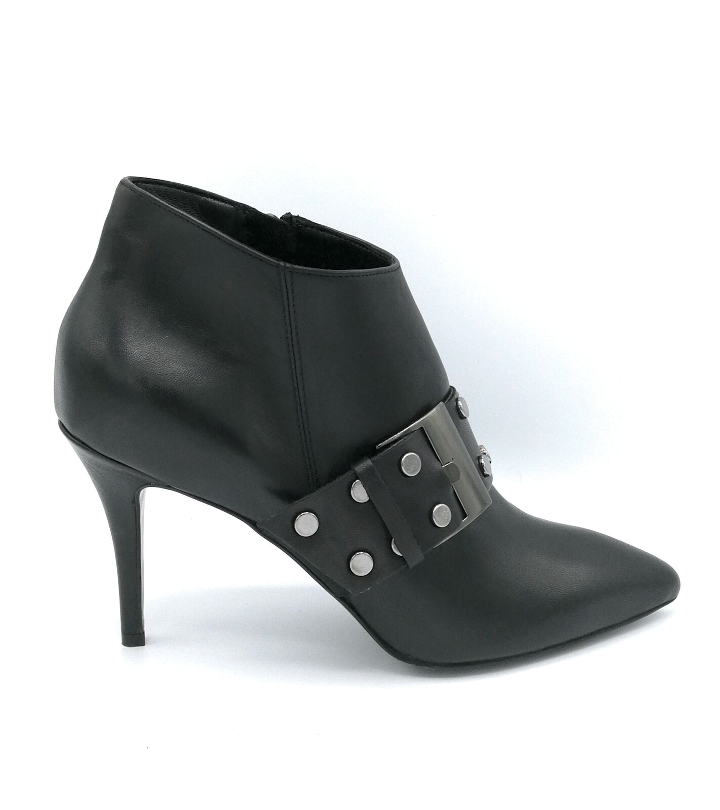 Mary 1580A ankle boot black leather zipper fibba heel pin 9 cm