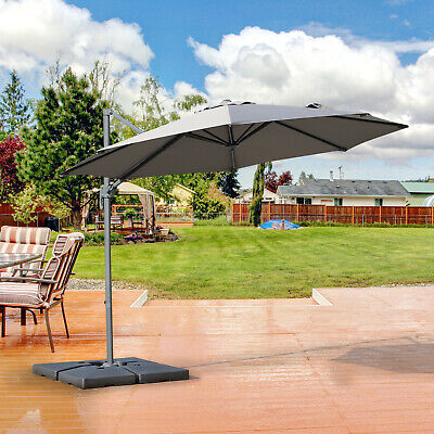 Roma Sun Umbrella Cantilever Parasol 360° Rotation w/ Cross Base