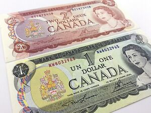 1973-1974-Canada-1-One-2-Two-Dollar-Uncirculated-Lawson-Bouey-Banknotes-Set-R363