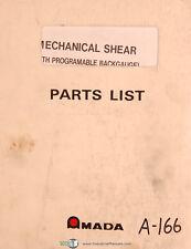 Amada M Series Mechanical Shear Parts List Manual Year 1984