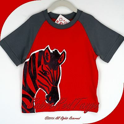 NWT HANNA ANDERSSON RAGLAN ART TEE TOP SHIRT APPLE RED ZEBRA 100 4T 4