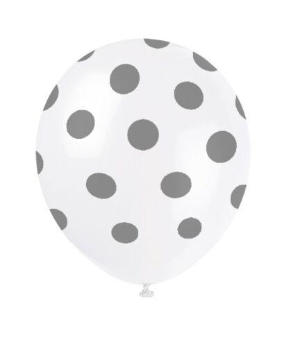 "6 Polka Dots Spots Spotty 12/"" LATEX BALLOONS Birthday Party Decorations Supplies"