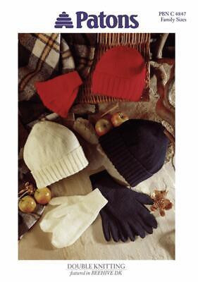 Patons Knitting Patterns For Kids Men /& Women Hats Mittens /& Gloves Fingerless
