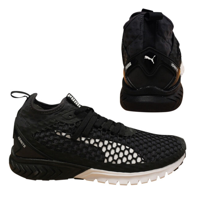 c6b22cb80da267 Puma Ignite Dual NETFIT Mens Trainers Lace Up Slip On Black 190002 03 Q2