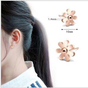 ROSE GOLD STAINLESS STEEL DAISY FLOWER STUD EARRINGS 10MM
