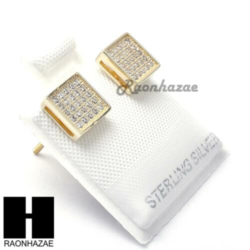 Iced Sterling Silver .925 Lab Diamond 7mm Square Push Back Earring SE005G
