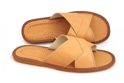 Latschen,Sandaletten Leder Pantoffeln b107aHausschuhe Herren Braun,neu