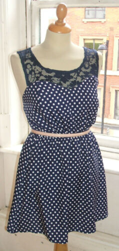 Baylis /& Knight Navy Blue Polka Lace Top Sweetheart Retro Mini Short Dress 70/'s