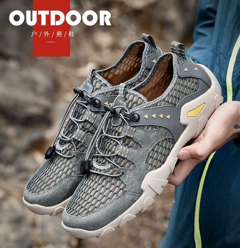Men's Hollow Out Mesh Breathable Outdoors Athletic Casual Hiking Sports Shoes