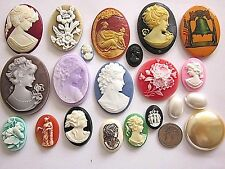 CAMEOS NOS VTG LOT BLANKS 9 BIG 40x30mm REPAIR JEWELRY CRAFT FINDINGS DESIGN