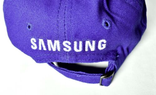 SAMSUNG Blue Adjustable Baseball Hat//Cap White Stripes One Size 100/% Cotton />NEW
