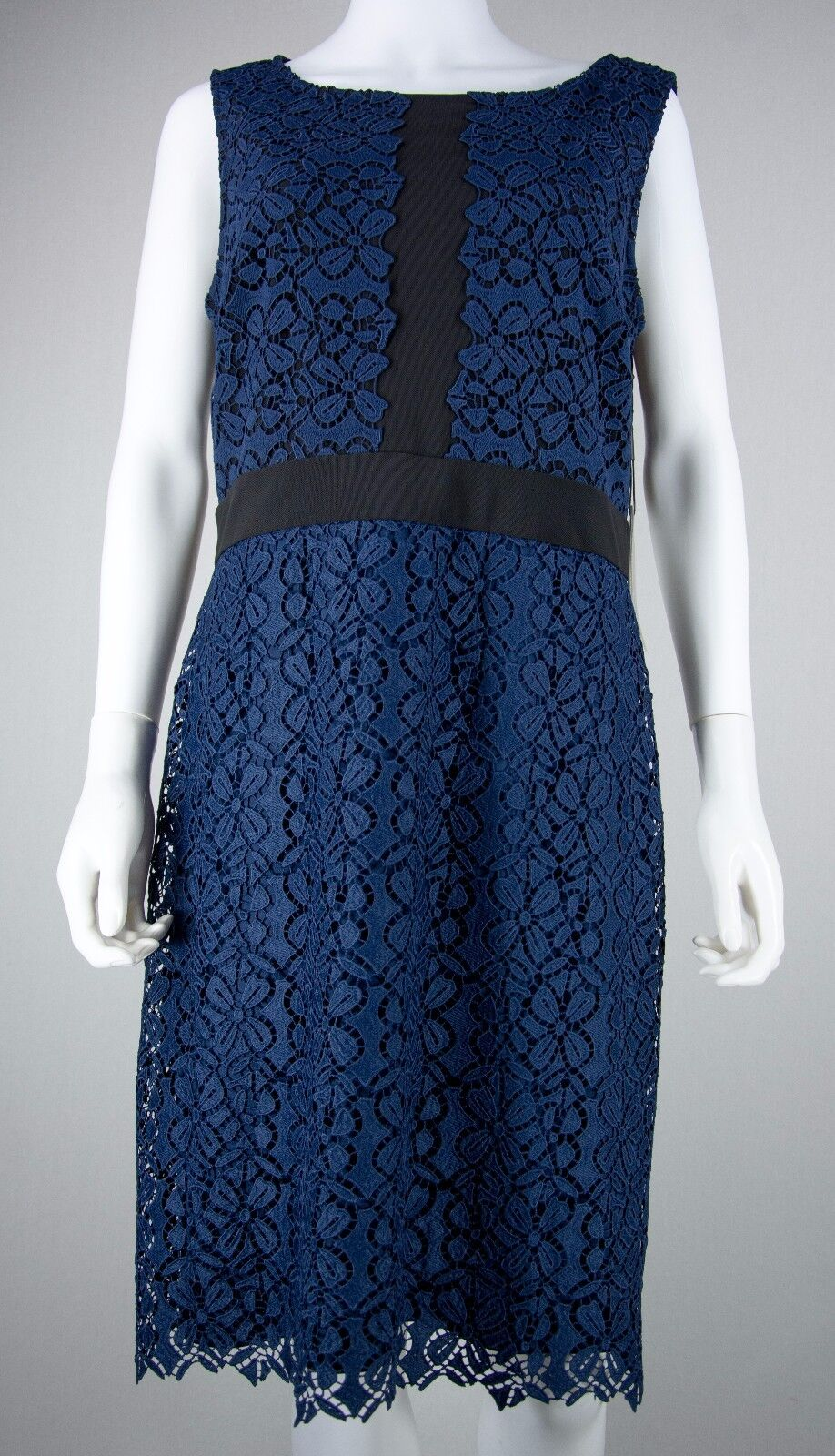 Woherren Karl Lagerfeld Größe 12 Dark Blau Sleeveless Floral Lace Dress NEW NWT