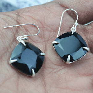 Black-onyx-gemstone-Dangle-earrings-fine-Jewelry-4-07-g-Sterling-Sliver-925