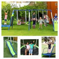 Outdoor Swing Set Kid Playground Swingset Playset Slide Saucer Glider Trampoline