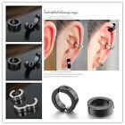 Chic 1 Pair Men Stainless Steel Non-Piercing Clip On Ear Stud Cuff Hoop Earrings