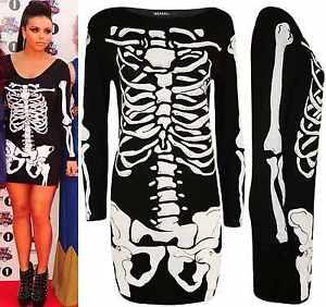 cf4aba134766 Image is loading A41-Womens-Ladies-Halloween-Skeleton-Skull-Bones-Print-