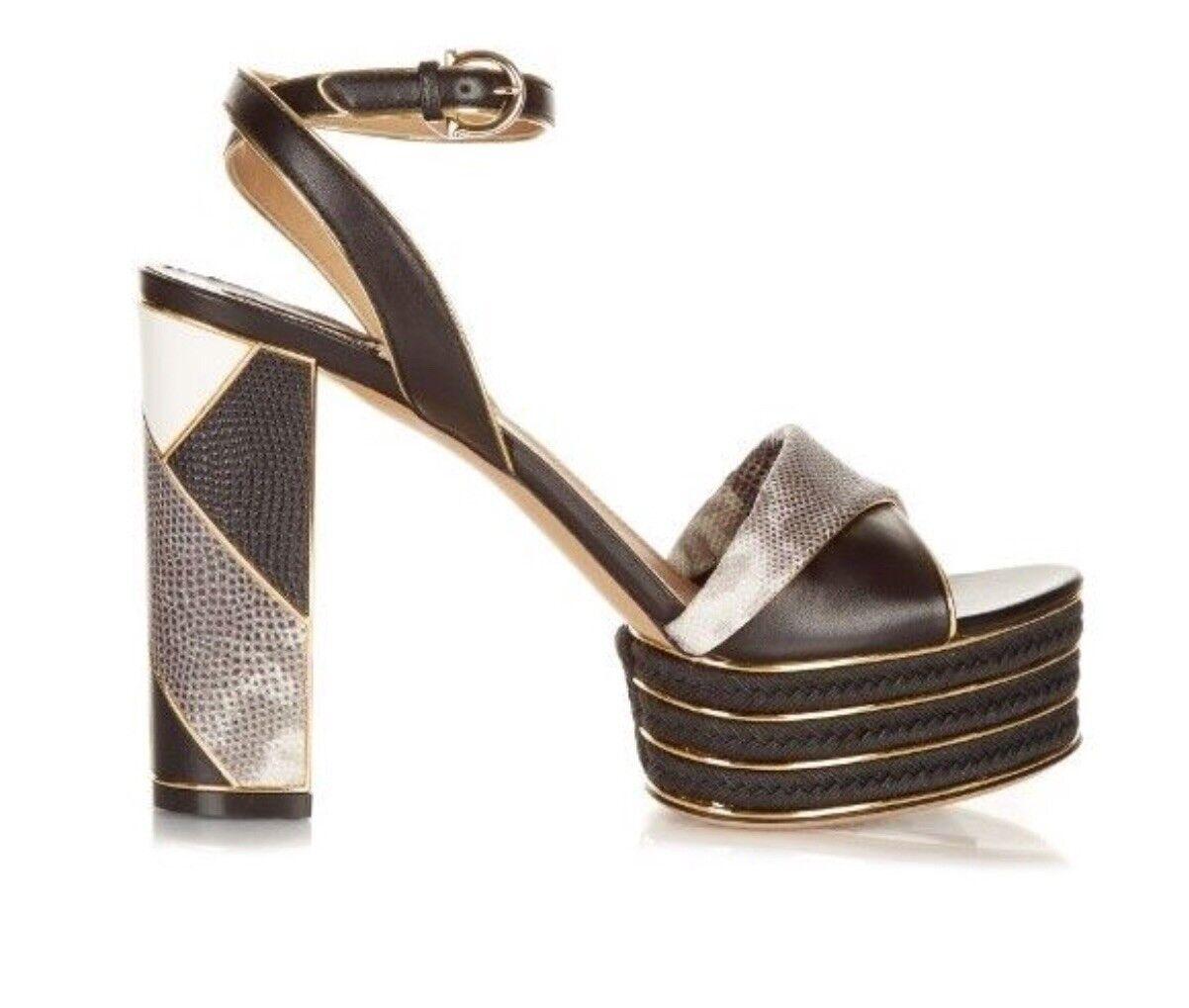 Salvatore Ferragamo Patchwork Leather Platform Sandal, Sandal, Sandal, Black 1893bf