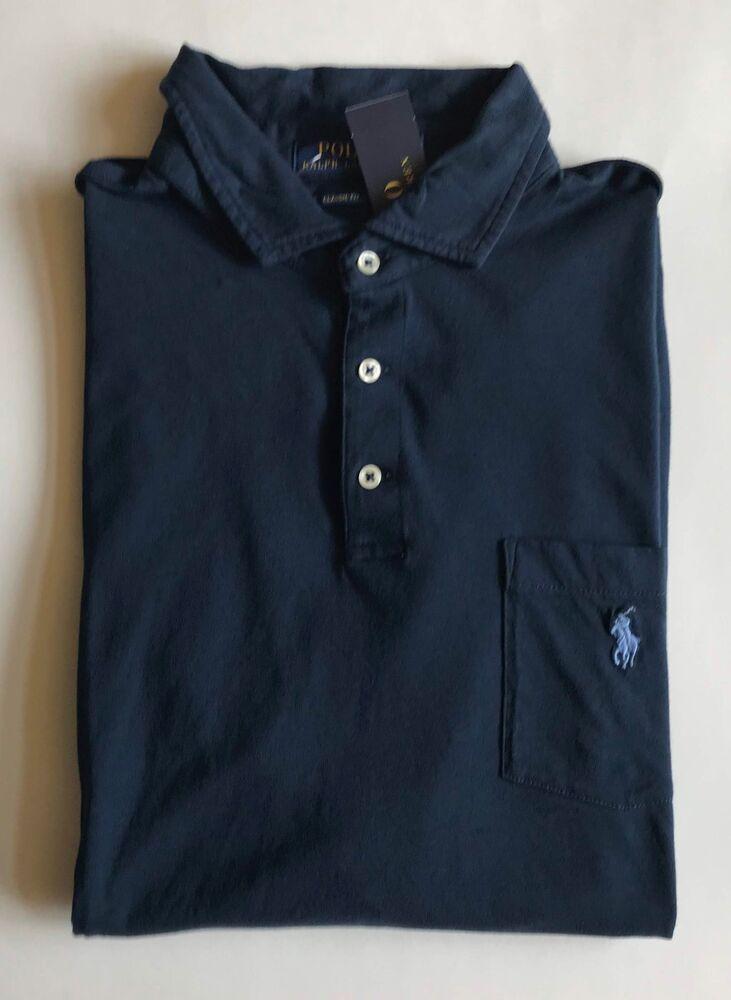 $70 Neuf Avec étiquettes Pour Homme Polo Ralph Lauren Classic Fit Knit Poche Chemise à Manches Courtes Bleu Marine