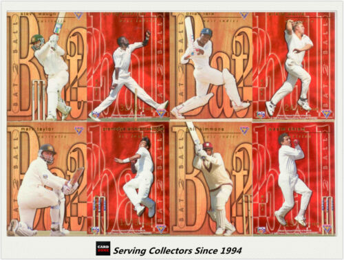1995-96 Futera Cricket No Limit Cards Bat To Ball Subset Full Set (10)-- RARE