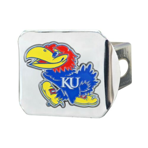 2-4 Day Fanmats NCAA Kansas Jayhawks Color 3D Chrome Metal Hitch Cover Del