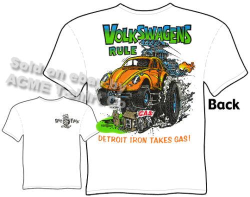 Rat Fink T Shirt Volkswagens Rule Bug Beetle Big Daddy Roth Tee Sz M L XL 2XL 3X