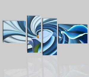 Quadri moderni astratti azzurro celeste olio su tela fiori for Quadri a olio fiori