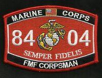 United States Marine Corps 8404 fmf Corpsman Mos Military Patch Semper Fi Usmc