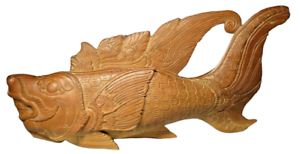 Antique Hand Carved Hard Wood Lucky Dragon Fish Asian Chinese Japanese Wooden