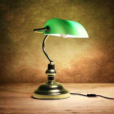 Lámpara de mesa verde de banquero biblioteca nostálgica look antiguo